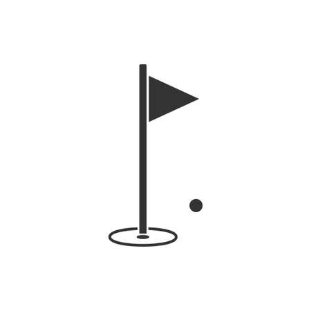 Golf Flag. Black Icon Flat on white background