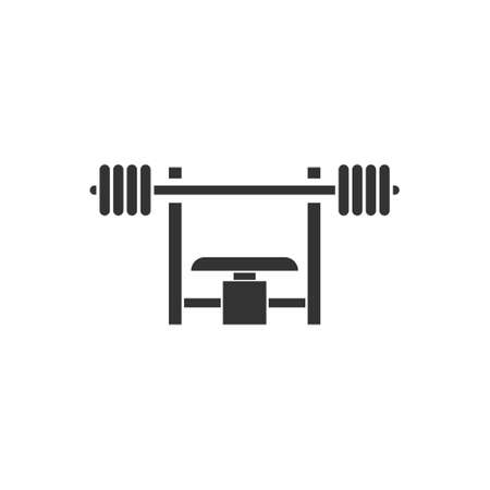 Bench Press with Barbel. Black Icon Flat on white background