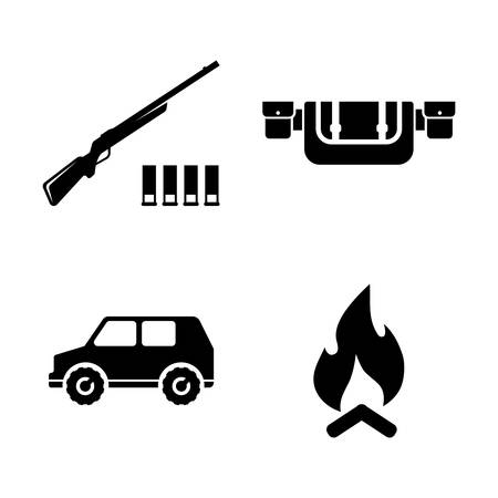 Safari Hunting, Hunt. Simple Related Vector Icons Set for Video, Mobile Apps, Web Sites, Print Projects and Your Design. Safari Hunting, Hunt icon Black Flat Illustration on White Background. Illusztráció