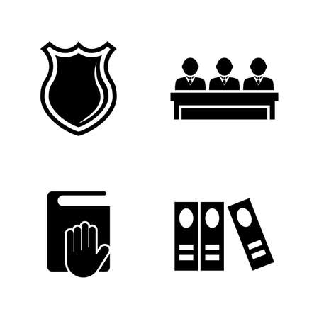 Law Justice, Court Judge. Simple Related Vector Icons Set for Video, Mobile Apps, Web Sites, Print Projects and Your Design. Law Justice, Court Judge icon Black Flat Illustration on White Background.