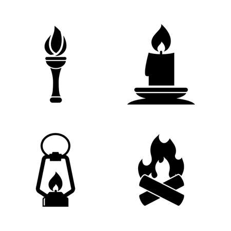 Fire Light Source. Simple Related Vector Icons Set for Video, Mobile Apps, Web Sites, Print Projects and Your Design. Fire Light Source icon Black Flat Illustration on White Background.