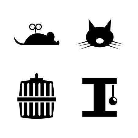 Keeping Cat. Simple Related Vector Icons Set for Video, Mobile Apps, Web Sites, Print Projects and Your Design. Keeping Cat icon Black Flat Illustration on White Background.