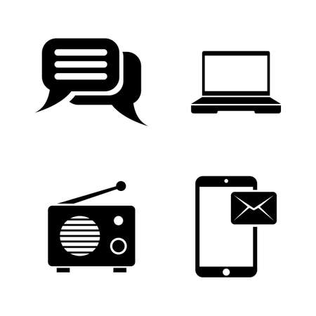 Media Broadcasting. Simple Related Vector Icons Set for Video, Mobile Apps, Web Sites, Print Projects and Your Design. Media Broadcasting icon Black Flat Illustration on White Background. Illustration