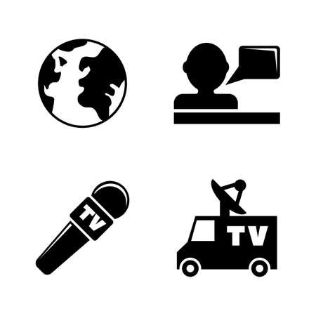TV, News. Simple Related Vector Icons Set for Video, Mobile Apps, Web Sites, Print Projects and Your Design. TV, News icon Black Flat Illustration on White Background.