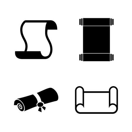 Scrolls Papers, Papyrus. Simple Related Vector Icons Set for Video, Mobile Apps, Web Sites, Print Projects and Your Design. Scrolls Papers, Papyrus icon Black Flat Illustration on White Background. Ilustracja