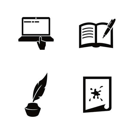 Creative Writing, Storytelling. Simple Related Vector Icons Set for Video, Mobile Apps, Web Sites, Print Projects and Your Design. Creative Writing icon Black Flat Illustration on White Background.