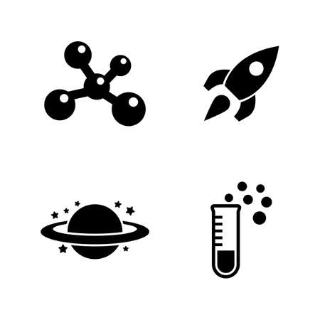 Physics, Chemistry, Astronomy. Simple Related Vector Icons Set for Video, Mobile Apps, Web Sites, Print Projects and Your Design. Physics, Science icon Black Flat Illustration on White Background.