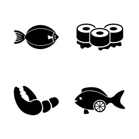 Fish Restaurant, Seafood. Simple Related Vector Icons Set for Video, Mobile Apps, Web Sites, Print Projects and Your Design. Fish Restaurant, Seafood icon Black Flat Illustration on White Background.