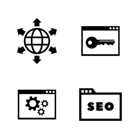 Search Engine Optimization. Simple Related Vector Icons Set for Video, Mobile Apps, Web Sites, Print Projects and Your Design. SEO Optimization icon Black Flat Illustration on White Background.