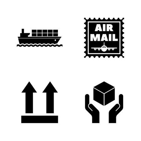 Logistics, Delivery, Shipping. Simple Related Vector Icons Set for Video, Mobile Apps, Web Sites, Print Projects and Your Design. Logistics, Delivery icon Black Flat Illustration on White Background.
