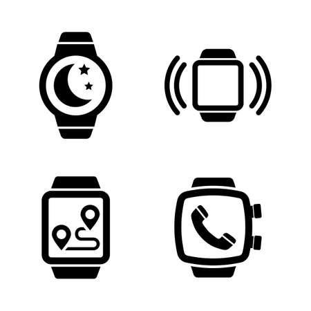 Smartwatch, Smart Clock. Simple Related Vector Icons Set for Video, Mobile Apps, Web Sites, Print Projects and Your Design. Smartwatch, Smart Clock icon Black Flat Illustration on White Background.