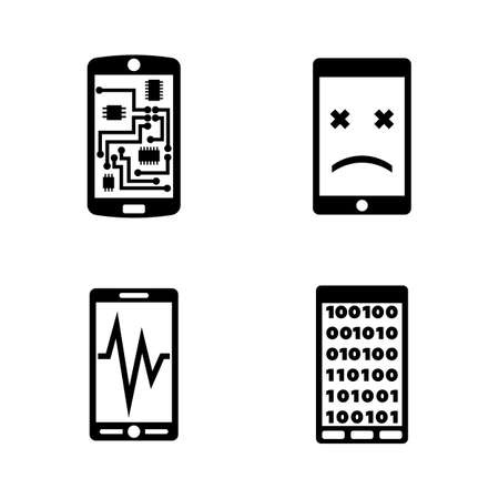 Broken Smartphone, Phone. Simple Related Vector Icons Set for Video, Mobile Apps, Web Sites, Print Projects and Your Design. Broken Smartphone, Phone icon Black Flat Illustration on White Background.