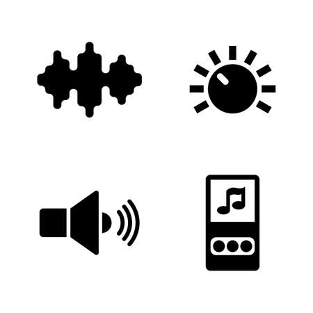 Music, Audio MP3 Player. Simple Related Vector Icons Set for Video, Mobile Apps, Web Sites, Print Projects and Your Design. Music, Audio MP3 Player icon Black Flat Illustration on White Background.