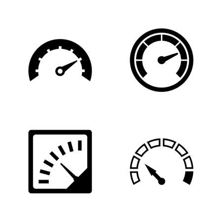 Speedometer, Speed Measurement. Simple Related Vector Icons Set for Video, Mobile Apps, Web Sites, Print Projects and Your Design. Speedometer, Speed icon Black Flat Illustration on White Background. Illustration