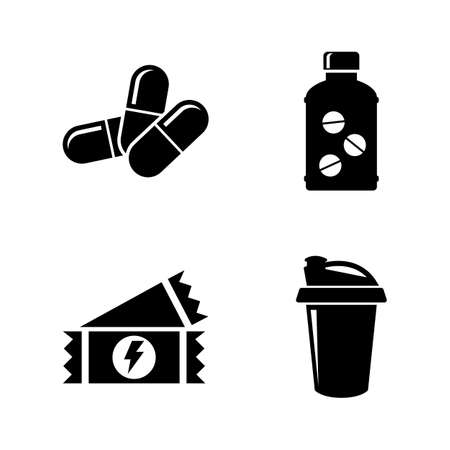 Sport Nutrition, Supplements. Simple Related Vector Icons Set for Video, Mobile Apps, Web Sites, Print Projects and Your Design. Sport Nutrition, Pill icon Black Flat Illustration on White Background.