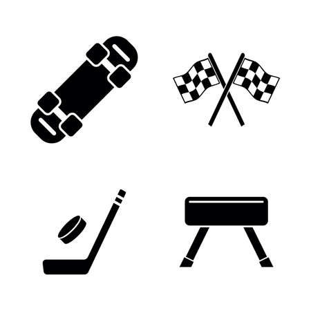 Activity Sport Games. Simple Related Vector Icons Set for Video, Mobile Apps, Web Sites, Print Projects and Your Design. Activity Sport Games icon Black Flat Illustration on White Background.
