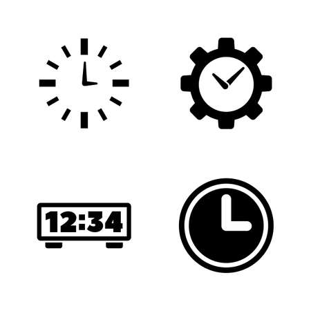 Alarm Time, Clock, Watch. Simple Related Vector Icons Set for Video, Mobile Apps, Web Sites, Print Projects and Your Design. Alarm Time, Clock, Watch icon Black Flat Illustration on White Background. Stock Vector - 124922402
