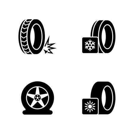 Seizoensgebonden bandenmontage. Eenvoudige gerelateerde Vector Icons Set voor video, mobiele apps, websites, printprojecten en uw ontwerp. Seizoensgebonden band montage pictogram zwarte platte afbeelding op witte achtergrond.