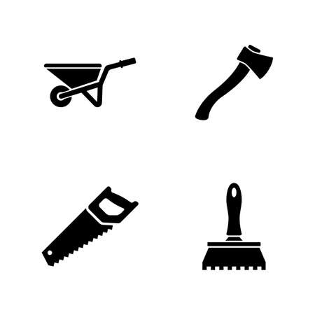 Construction Repair Tools. Simple Related Vector Icons Set for Video, Mobile Apps, Web Sites, Print Projects and Your Design. Construction Repair Tools icon Black Flat Illustration on White Background