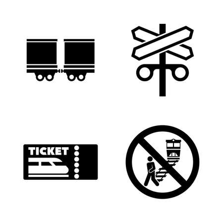 Chemin de fer, train de chemin de fer. Ensemble d'icônes vectorielles associées simples pour la vidéo, les applications mobiles, les sites Web, les projets d'impression et votre conception. Icône de montage de pneus saisonniers Illustration plate noire sur fond blanc.