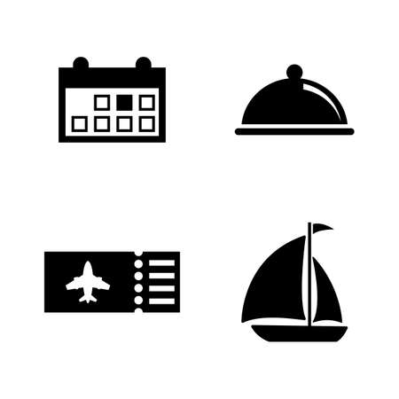 Vacation, Travel, Trip. Simple Related Vector Icons Set for Video, Mobile Apps, Web Sites, Print Projects and Your Design. Vacation, Travel, Trip icon Black Flat Illustration on White Background.