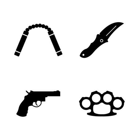 Steel Arms, Firearms, Weapon. Simple Related Vector Icons Set for Video, Mobile Apps, Web Sites, Print Projects and You Design. Steel Fire Arms, Weapon icon Black Flat Illustration on White Background