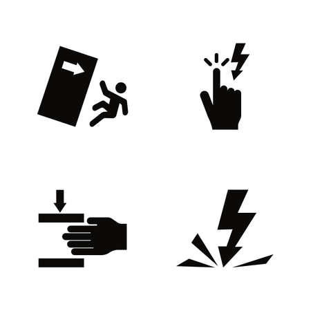 Warning Signs, Danger. Simple Related Vector Icons Set for Video, Mobile Apps, Web Sites, Print Projects and Your Design. Warning Signs, Danger icon Black Flat Illustration on White Background.