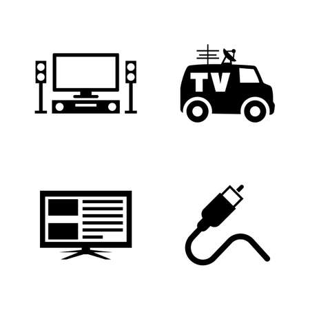 TV Broadcast, Television. Simple Related Vector Icons Set for Video, Mobile Apps, Web Sites, Print Projects and Your Design. TV Broadcast, Television icon Black Flat Illustration on White Background.