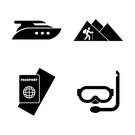 Adventure, Vacation, Trip. Simple Related Vector Icons Set for Video, Mobile Apps, Web Sites, Print Projects and Your Design. Adventure, Vacation, Trip icon Black Flat Illustration on White Background 向量圖像