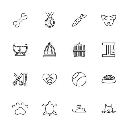 Pet, Animal Welfare outline icons set - Black symbol on white background. Pet, Animal Welfare Simple Illustration Symbol - lined simplicity Sign. Flat Vector thin line Icon - editable stroke Illustration