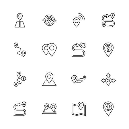 Route, GPS outline icons set - Black symbol on white background. Route, GPS Simple Illustration Symbol - lined simplicity Sign. Flat Vector thin line Icon - editable stroke Illustration