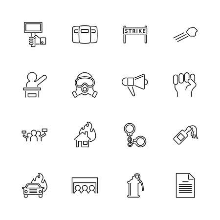 Protest, Strike outline icons set - Black symbol on white background. Protest, Strike Simple Illustration Symbol - lined simplicity Sign. Flat Vector thin line Icon - editable stroke