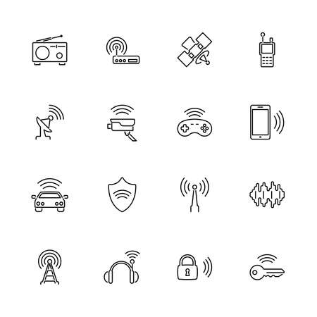 Radio Wireless Gadgets outline icons set - Black symbol on white background. Radio Wireless Gadgets Simple Illustration Symbol - lined simplicity Sign. Flat Vector thin line Icon - editable stroke