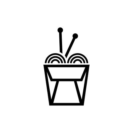 Chinese Noodle in Box, and Sticks. Flat Vector Icon illustration. Simple black symbol on white background. Chinese Noodle in Box, and Sticks sign design template for web and mobile UI element
