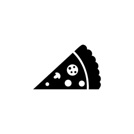 Slice of Pizza, Fast Food. Flat Vector Icon illustration. Simple black symbol on white background. Slice of Pizza, Fast Food sign design template for web and mobile UI element