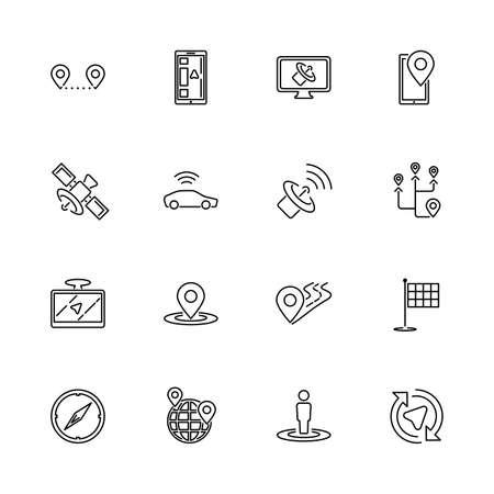 Satelita, zestaw ikon zarys trasy GPS - czarny symbol na białym tle. Satelita, Trasa GPS Prosta ilustracja Symbol - wyłożony prostotą znak. Płaski wektor cienka linia ikona - edytowalny obrys Ilustracje wektorowe