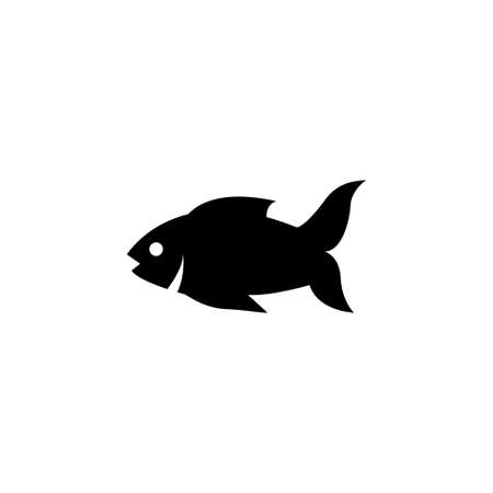 Raw Fish, Perch, Sea Food. Flat Vector Icon illustration. Simple black symbol on white background. Raw Fish, Perch, Sea Food sign design template for web and mobile UI element