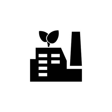 ECO Industrial Factory, Green Energy. Flat Vector Icon illustration. Simple black symbol on white background. ECO Industrial Factory, Green Energy sign design template for web and mobile UI element Ilustração