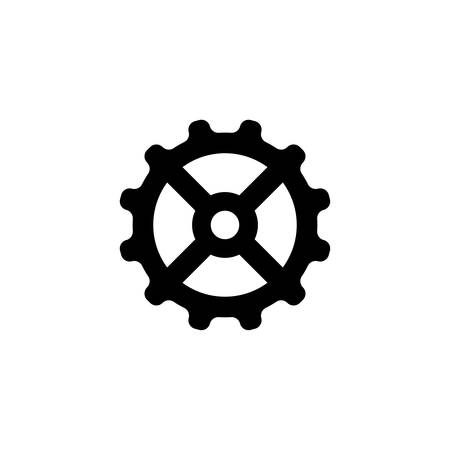 Gear, Mechanism. Flat Vector Icon illustration. Simple black symbol on white background. Gear, Mechanism sign design template for web and mobile UI element