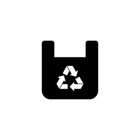 Recycling Paper Bag. Flat Vector Icon illustration. Simple black symbol on white background. Recycling Paper Bag sign design template for web and mobile UI element Illusztráció