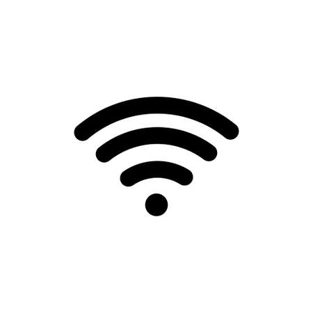 Free WiFi. Flat Vector Icon illustration. Simple black symbol on white background. Free WiFi sign design template for web and mobile UI element Ilustração