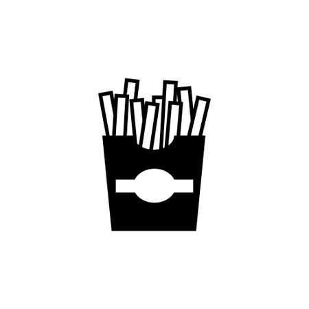 Fast Food, French Fries. Flat Vector Icon illustration. Simple black symbol on white background. Fast Food, French Fries sign design template for web and mobile UI element