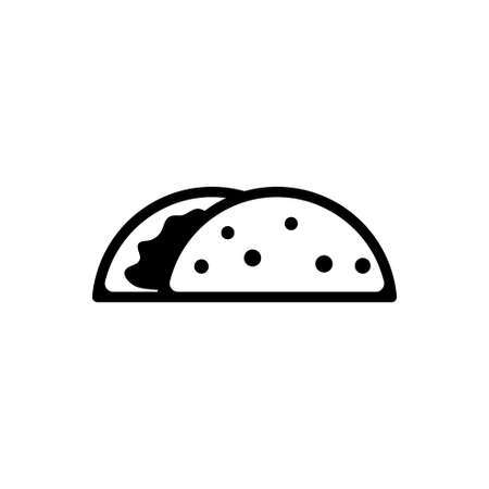 Taco, Mexican Dish. Flat Vector Icon illustration. Simple black symbol on white background. Taco, Mexican Dish sign design template for web and mobile UI element
