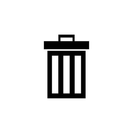 Trash Can, Bin. Flat Vector Icon illustration. Simple black symbol on white background. Trash Can, Bin sign design template for web and mobile UI element