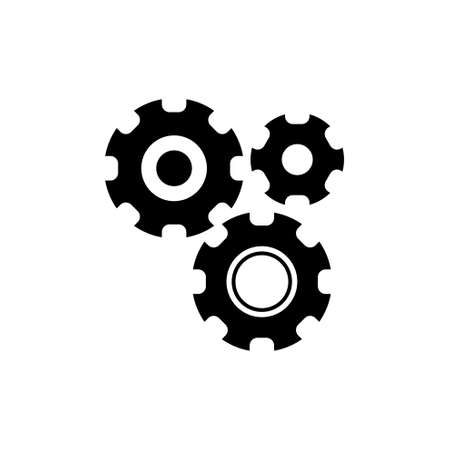 Settings with Additional Gears. Flat Vector Icon illustration. Simple black symbol on white background. Settings with Additional Gears sign design template for web and mobile UI element Illustration