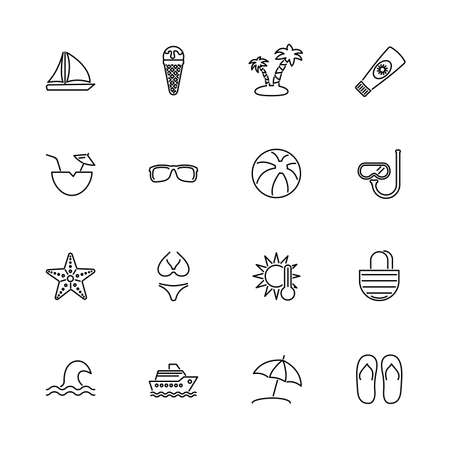 Sea Travel, Cruise outline icons set - Black symbol on white background. Sea Travel, Cruise Simple Illustration Symbol - lined simplicity Sign. Flat Vector thin line Icon - editable stroke