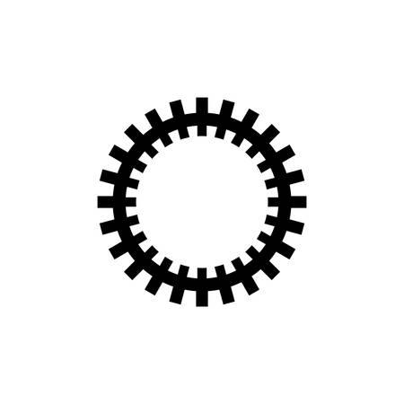 Gear Mechanism, Rackwheel. Flat Vector Icon illustration. Simple black symbol on white background. Gear Mechanism, Rackwheel sign design template for web and mobile UI element