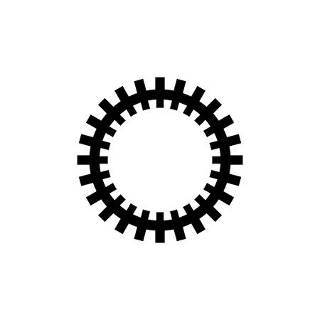 Gear Mechanism, Rackwheel. Flat Vector Icon illustration. Simple black symbol on white background. Gear Mechanism, Rackwheel sign design template for web and mobile UI element