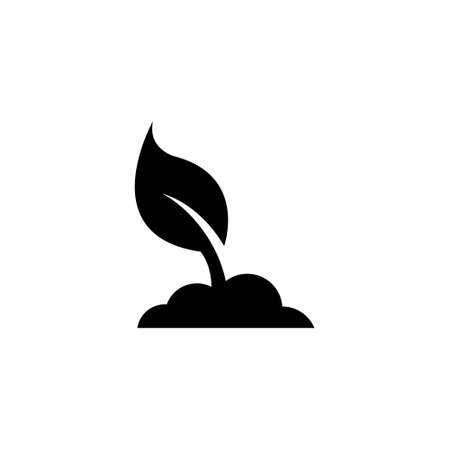 Planting Tree, Young Sprout Leaf. Flat Vector Icon illustration. Simple black symbol on white background. Planting Tree, Young Sprout Leaf sign design template for web and mobile UI element