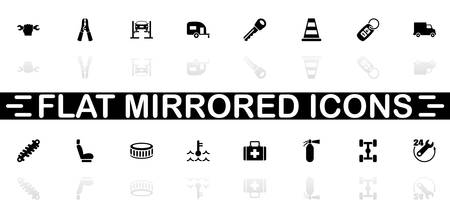 Car Repair icons - Black symbol on white background. Simple illustration. Flat Vector Icon. Mirror Reflection Shadow.